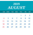 2019 calendar template - august vector image vector image