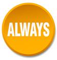 always orange round flat isolated push button vector image vector image