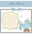 baby boy announcement card with baby and pram vector image vector image