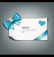 Bule ribbon and white paper design background vector image vector image