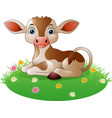 cartoon cow sitting on grass vector image vector image