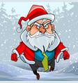 cartoon man in a santa claus costume running vector image vector image