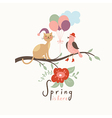 Cat and Bird on branch of tree vector image vector image