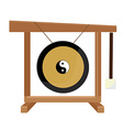 Chinese gong with yin and yang symbol hammer vector image vector image