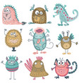 collection of colorful funny monsters cute vector image vector image