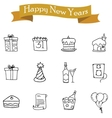 Collection of element New Year icons vector image vector image