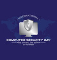 computer security day letter emblem vector image vector image