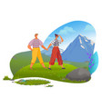 couple on vacation relaxing in mountains vector image vector image