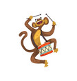 cute funny monkey playing drum cartoon animal vector image