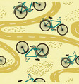 cute seamless pattern with bicycles and paths vector image vector image