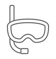diving mask thin line icon diving and underwater vector image