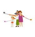 family members parents and daugther make selfie vector image