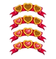 Fancy golden hearts on red ribbon vector image vector image