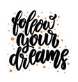 follow your dreams lettering phrase for poster vector image vector image