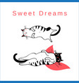 funny card with sleeping graphic cats vector image vector image