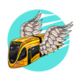 hand drawn of modern tram car with wings Concept vector image vector image