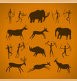 hand-drawn pattern of cave drawings ancient vector image