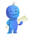 happy blue caracter with project papers on white vector image vector image