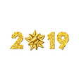 happy new year card 3d gift ribbon bow gold vector image vector image