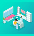 isometric medical heart care template vector image vector image