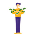 jackpot and lottery man holding money or dollar vector image