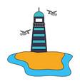 lighthouse and birds beach vector image