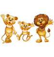 Lion family with one little cub vector image vector image
