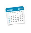 march 2018 calendar calendar sticker design vector image