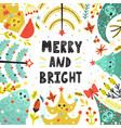 merry and bright card with cute christmas trees vector image vector image