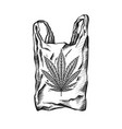 nature bag with hatching and marijuana leaf eco vector image vector image