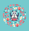 panda eating noodles with chopsticks vector image vector image