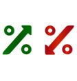 percentage symbol with up and down arrow vector image