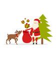 reindeer helps santa to prepare christmas gifts vector image vector image