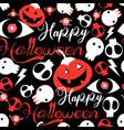 seamless festive halloween pattern with skulls vector image