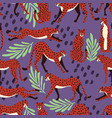 seamless pattern with hand drawn exotic big cat vector image vector image