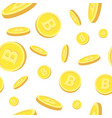 seamless pattern with realistic bitcoins falling vector image vector image