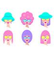 set girls avatars vector image vector image