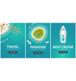 set of banners colorful travel to paradise vector image vector image