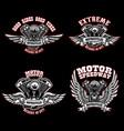 set of biker emblem templates with winged vector image