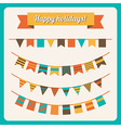 Set of bunting and garland in retro colors vector image vector image