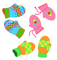 Set of paired colorful patterned winter mittens vector image