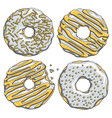 set silver donuts with a gold cream vector image vector image