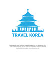 south korean palace icon travel to korea poster vector image vector image