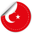 sticker design for flag of turkey vector image vector image