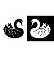 swan black and white silhouette vector image vector image
