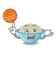 with basketball rice bowl character cartoon vector image