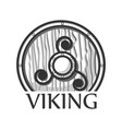 wooden viking shield vector image