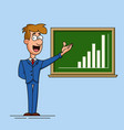 young businessman points to a growth chart drawn vector image