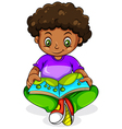 A young Black girl reading vector image