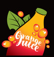 banner for orange juice with bottle and leaves vector image